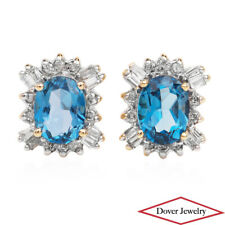 Estate Diamond Blue Topaz 10K Gold Halo Stud Earrings NR