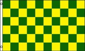 Green and Yellow Checkered Flag Advertising Banner Store Sign Party Pennant 3x5