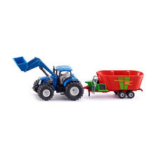 Siku 1988 New Holland with Front Loader and Strautmann DISTRIBUTION TRAILER 1:50