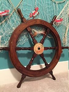 Nautical 24 Inch Wooden Ship Wheel Home Wall Decor Vintage Handcrafted Gift