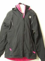 GIRLS KARRIMOR AGE 13 YEARS BLACK & PINK HOODED QUILTED PADDED JACKET KIDS