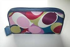 Nwt Coach Multicolor Scarf Print Satin Blue Patent Trim Travel Cosmetic Case Bag