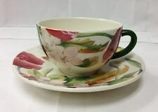 "GIEN ""VOLUPTE"" TEACUP & SAUCER STONEWARE FRENCH FAIENCE NEW"