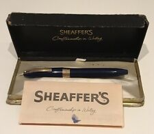 Vintage Sheaffer Snorkel Fountain Pen Navy Blue 14K Gold Nib Box & Instructions