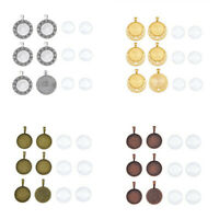 6Sets Alloy Pendant Cabochon Bezel Settings With Glass Cabochons Mulit Shape