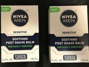 Nivea Post Shave Balm For Men Sensitive 3.3 oz 100 mL Soothes Aftershave 2 Pack