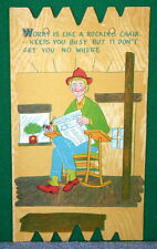 Vintage KOMIK KARD POSTCARD PLAK Comical Post Card - Worry Gets You Nowhere
