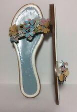 Lamberston Truex $350 Italian Leather Embellished Floral Flat Sandals 8.5 EUC