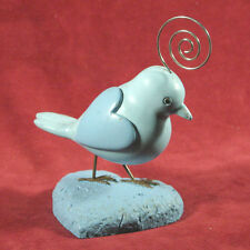 Blue Resin & Wire Partridge on Heart-Shaped Base