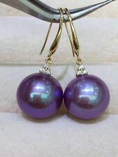 18K Yellow Gold with Diamond Huge Edison 13-14mm Purple Pearl Earrings Dangle