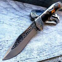 """9"""" Lockback Marble Handle Hunting Folding Pockt Knife 3CR13 Steel Engraved Blade"""