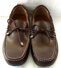 Alfani Mens Sz 10 Boat Shoes Drivers Leather Brown Braided Lace Comfort Moccasin