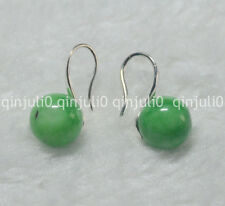 Natural 10mm round Emerald gemstone Beads silver Hook Dangle Earrings JE89