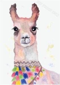 Llama Children's Nursery Kids Decor Painting Colourful A3