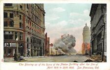 SAN FRANCISCO CALIFORNIA EARTHQUAKE PHELAN BUILDING BLOWING UP POSTCARD c. 1907