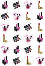 24 Girly Make up Beauty lipstick Cupcake Cake Toppers Edible Rice Wafer Paper