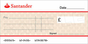 Large BLANK SANTANDER BANK Cheque for Charity / Presentation / Fundraising Event