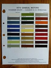 1974 GM Passenger paint chip color guide for Canadian & US Production