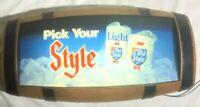 Vintage OLD STYLE Lighted 3-D Barrel  Beer Bar Sign - Works Great!