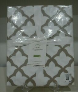 New Pottery Barn MARLO Organic Shower Curtain  Moroccan Motif TAUPE / WHITE