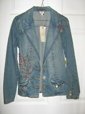 Department Of Peace Studded Denim Jacket Notched Collar size S