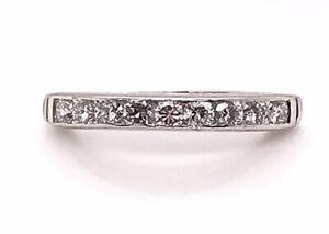 Vintage Antique Diamond Wedding Ring Band .45ct Platinum Art Deco