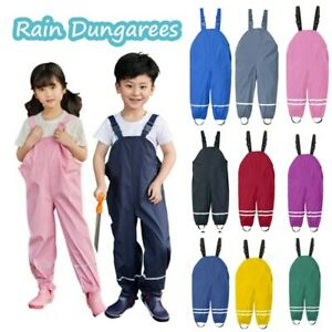 Waterproof Dungarees Trousers Rain Gear Childrens Toddler Kids Raingear Baby UK