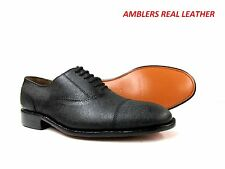 MENS GENTS AMBLERS OXFORD LACE UP REAL LEATHER SOLE FORMAL SHOES SIZE UK 10