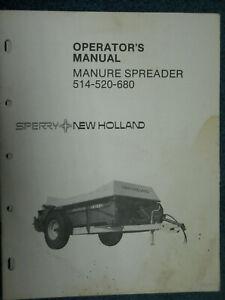 New Holland Header Operators Manual 514, 520, 680 Manure Spreader