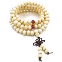 8mm Holz Halskette Tibetan White Sandal 108pcs Bead Buddhist Gebet Armband C7M1