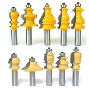 """10 pc 1/2"""" Shank Architectural Specialty Molding Router Bit set S"""