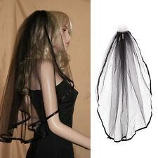 Black Gothic Wedding Veil Edge Comb Elbow Length Fancy Dress Party
