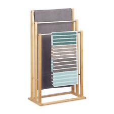 Handtuchhalter stehend Bambus Badhalter dreiarmig Handtuchstangen für Badezimmer