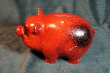 Vintage Cast Metal Pig Piggy Bank RED - Talman Federal Savings Chicago IL