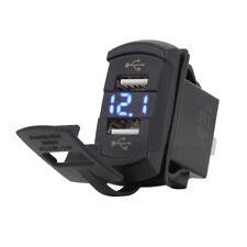 Universal Dual USB Charger Gauge Blue LED Voltmeter For Boat Marine Car RV UTV