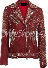 New Women Unique Red Brando Full Spiked Pins Zipper Belted Biker Leather Jacket