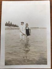 Rare Vintage Original Black White 1937 Aged Photo Pic Women And Boy In Beach