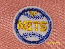 Vintage New York Mets Embroidered Sew-On Mini Patch Gold White Blue 1 3/4""
