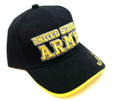BLACK YELLOW TEXT US UNITED STATES ARMY STRONG MILITARY LOGO HAT CAP CURVED BILL