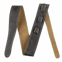 "Genuine Fender 2"" Wide, Road Worn Adjustable Leather Guitar Strap - Black"