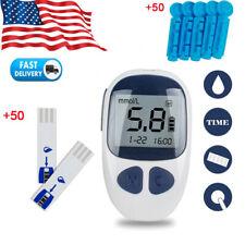 Blood Glucose Set Glucometer Sugar Meter Monitor Diabetes 50 Test Strips Lancets