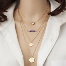 Multilayer Heart Beads Coin Clavicle Necklace Women's Fashion Jewelry Colar