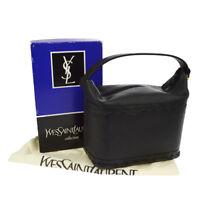 100% Authentic YVES SAINT LAURENT Hand Bag Black Gold Leather Vintage S07807k