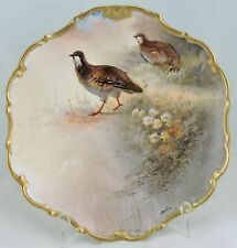 ANTIQUE LIMOGES HAND PAINTED QUAIL BIRD GOLD RIMS ARTIST SIGNED PLATE CHARGER