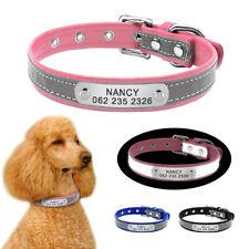 Safety Leather Dog Collar Personalized Nameplate Free Engraved ID TAG for Puppy