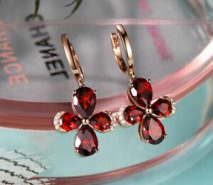2Ct Pear Cut Red Ruby Drop & Dangle Women's Pretty Earrings 14K Rose Gold Finish