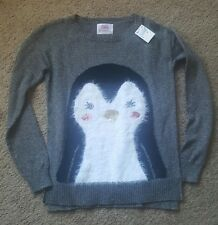 Girl's Justice adorable fluffy penguin sweater Sz 14 NWT