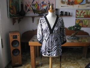 VESTAGLIA DONNA  maniche a Kimono Tg. S/M  40/44  Colore  Nero/Bianco  - Italy