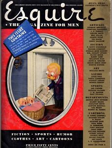 1940 Esquire July - William Hazlett Upson; Walt Disney, Pinocchio; A good wife?