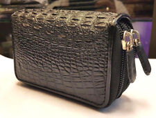 Men's Coin Bags Purses Crocodile Alligator Wallets Skin Leather Zipper Black